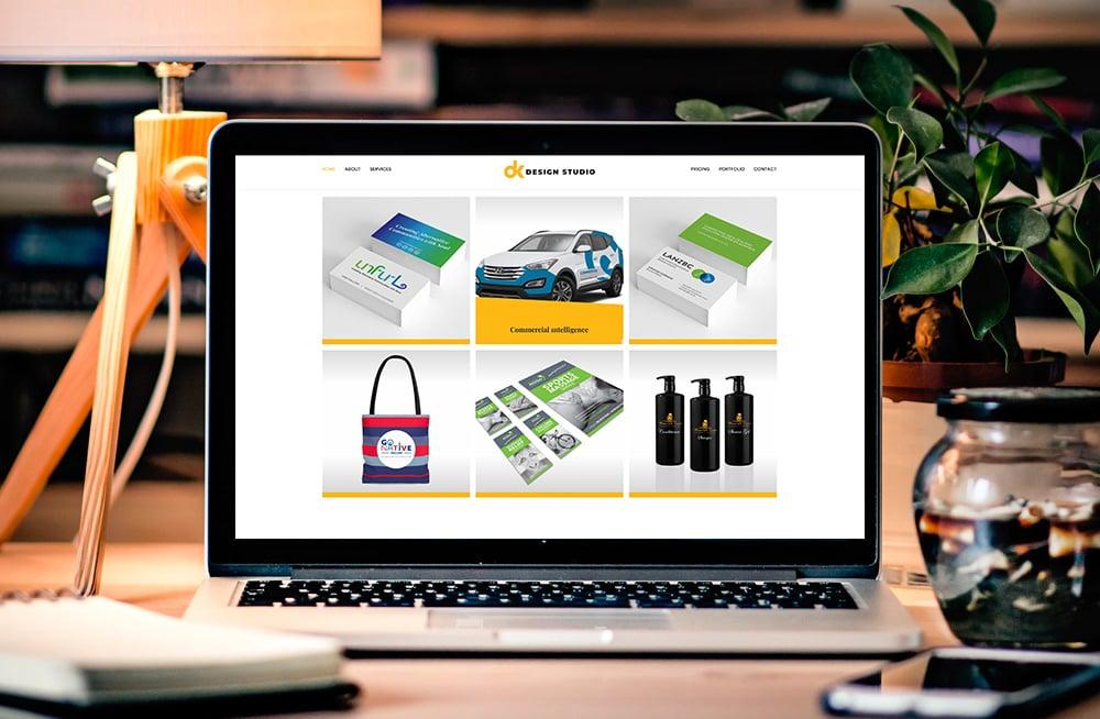 Responsive, Tauranga digital design agency. Client project  - DK Design Studio, Wordpress website development, web hosting, DK Design Studio - portfolio page on laptop