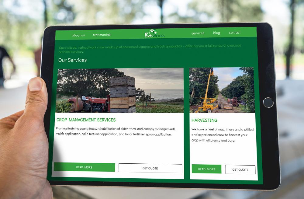 Responsive, Tauranga digital design agency. Client project  - Avoworks, Website design & development, Web hosting, website our services on tablet