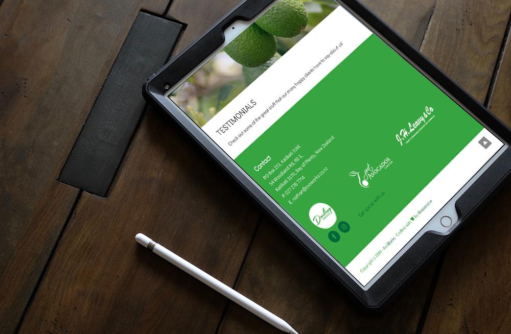 Responsive, Tauranga digital design agency. Client project  - Avoworks, Website design & development, Web hosting, website footer on tablet