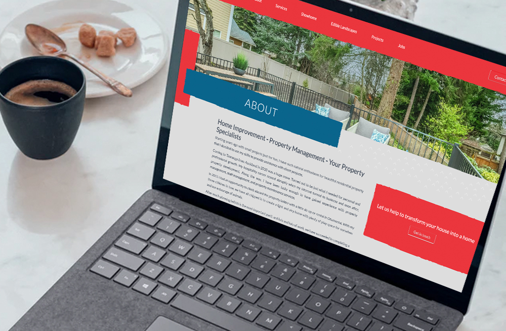 Responsive, Tauranga digital design agency. Client project  - Bay Property Projects, Website design & development, web hosting, Bay Property Projects about us page on laptop