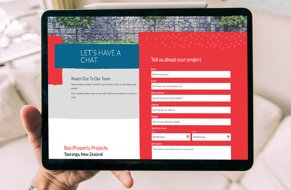 Responsive, Tauranga digital design agency. Client project  - Bay Property Projects, Website design & development, web hosting, Bay Property Projects contact page on laptop