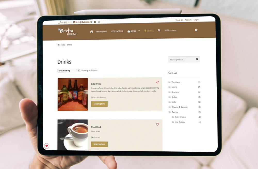 Responsive, Tauranga digital design agency. Client project  - The Bistro @ Home, Website development, eCommerce, web hosting, The Bistro @ Home drinks menu on a tablet