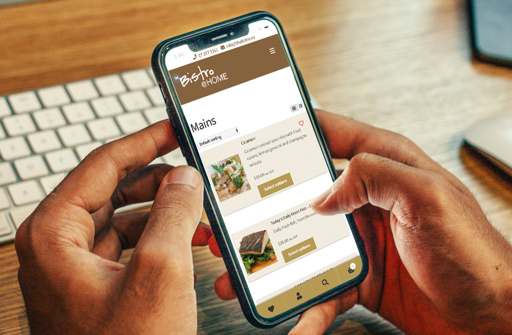 Responsive, Tauranga digital design agency. Client project  - The Bistro @ Home, Website development, eCommerce, web hosting, The Bistro @ Home mains courses on a mobile