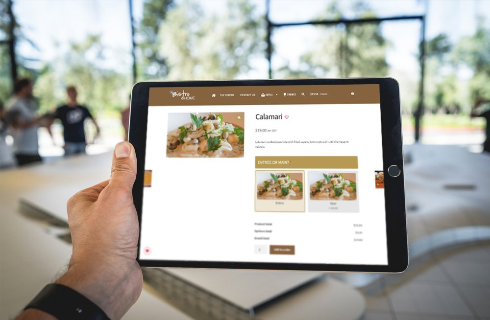 Responsive, Tauranga digital design agency. Client project  - The Bistro @ Home, Website development, eCommerce, web hosting, The Bistro @ Home product page on a tablet