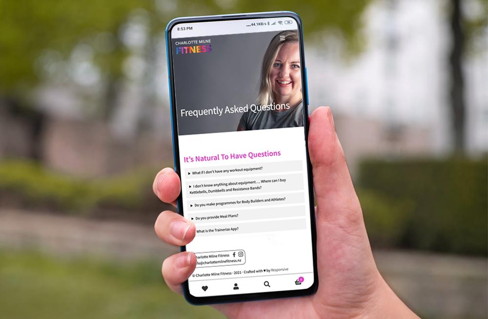 Responsive, Tauranga digital design agency. Client project  - Charlotte Milne Fitness, Website development, eCommerce, web hosting, Charlotte Mile Fitness FAQ's on mobile