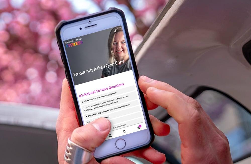 Responsive, Tauranga digital design agency. Client project  - Charlotte Milne Fitness, Website development, eCommerce, web hosting, Charlotte Mile Fitness faq page on mobile