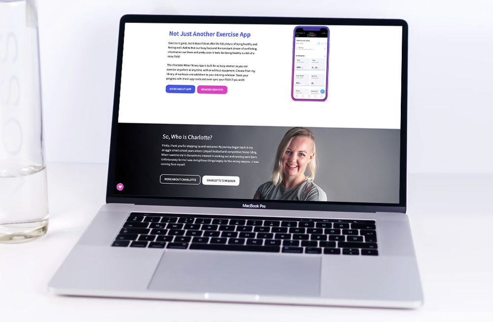 Responsive, Tauranga digital design agency. Client project  - Charlotte Milne Fitness, Website development, eCommerce, web hosting, Charlotte Mile Fitness homepage on laptop