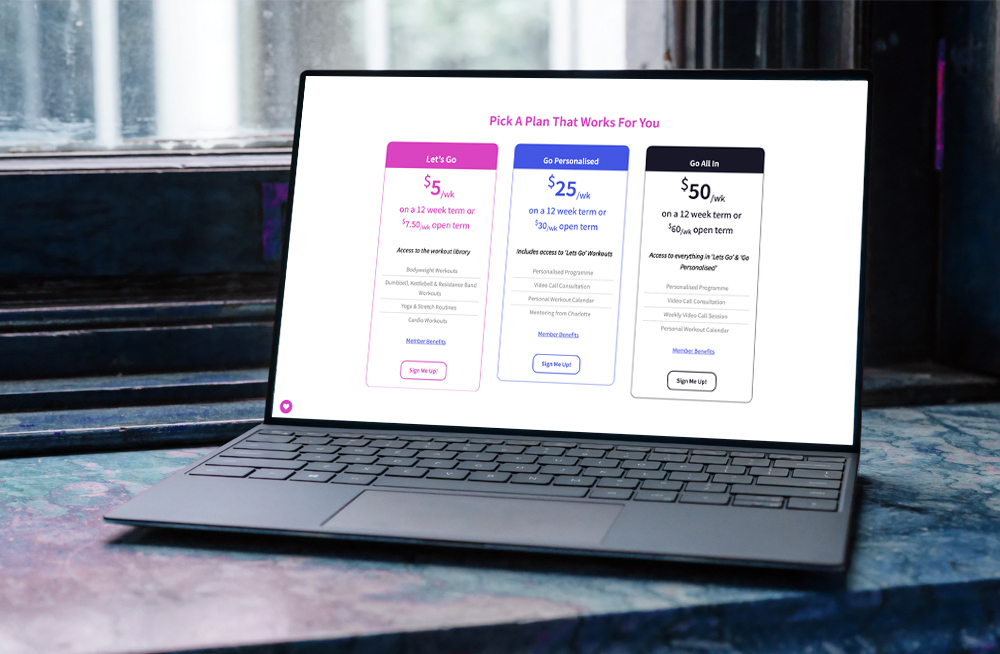 Responsive, Tauranga digital design agency. Client project  - Charlotte Milne Fitness, Website development, eCommerce, web hosting, Charlotte Mile Fitness pricing table on laptop