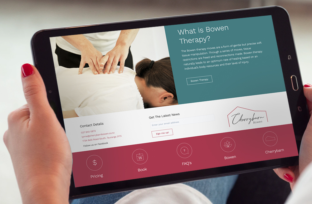 Responsive, Tauranga digital design agency. Client project  - Cherrybarn Bowen, Website design & development, web hosting, Cherrybarn Bowen homepage on tablet