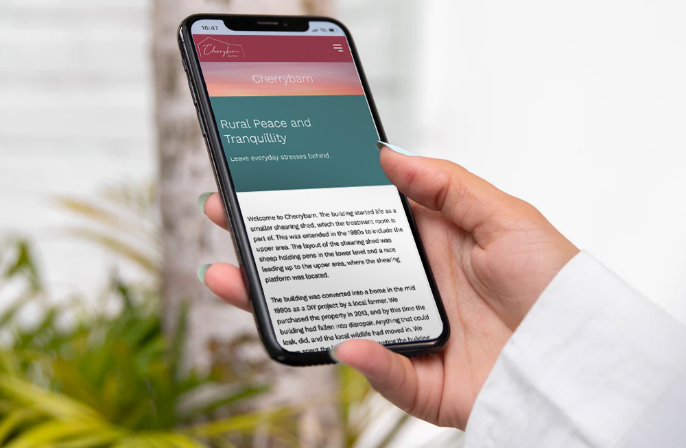 Responsive, Tauranga digital design agency. Client project  - Cherrybarn Bowen, Website design & development, web hosting, Cherrybarn Bowen on mobile