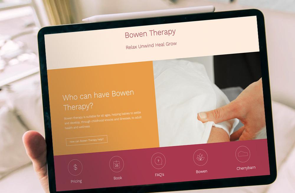 Responsive, Tauranga digital design agency. Client project  - Cherrybarn Bowen, Website design & development, web hosting, Cherrybarn Bowen services bar on tablet