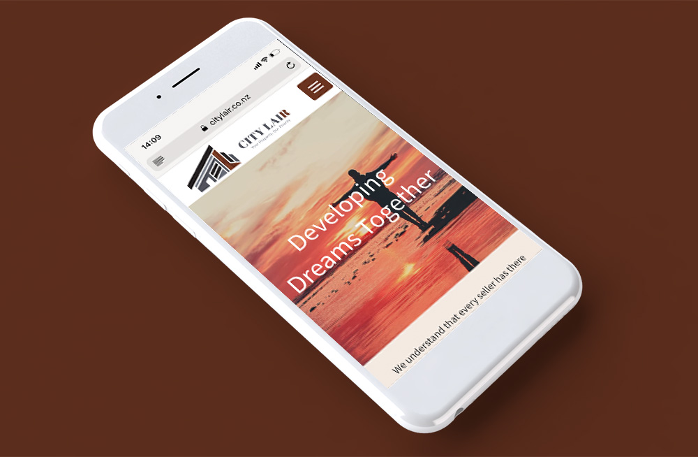 Responsive, Tauranga digital design agency. Client project  - City Lair, Custom theme, website development, web hosting, graphic design, website homepage on mobile