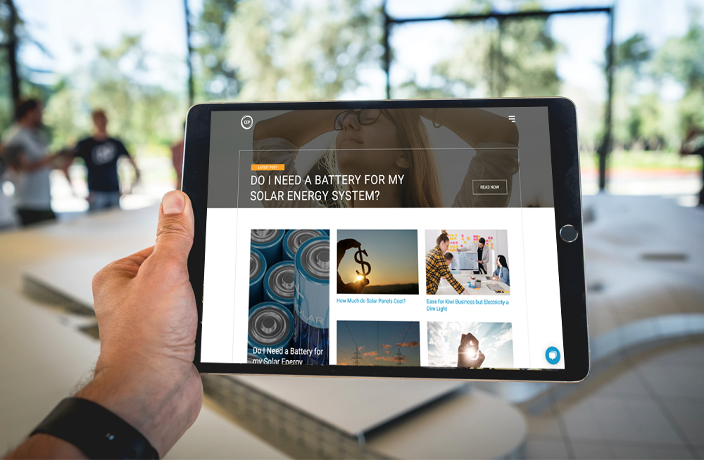 Responsive, Tauranga digital design agency. Client project  - Clean Energy Partners, Website design & development, web hosting, blog page on tablet