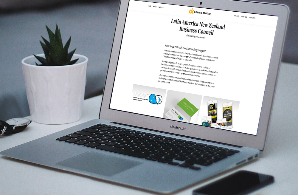 Responsive, Tauranga digital design agency. Client project  - DK Design Studio, Wordpress website development, web hosting, DK Design Studio - portfolio project on laptop