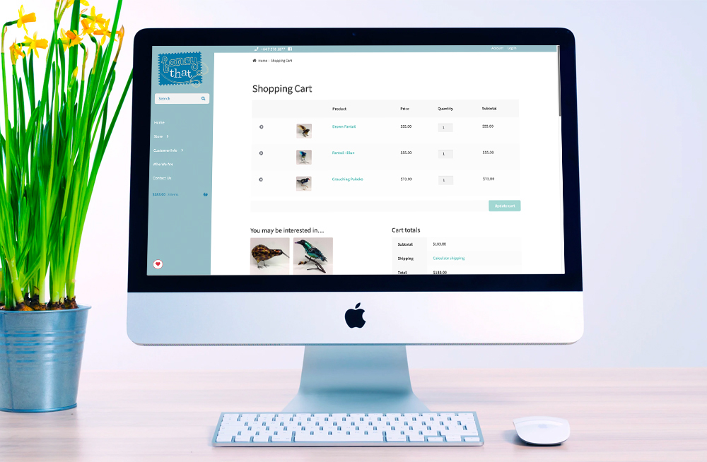 Responsive, Tauranga digital design agency. Client project  - New Zealand Gifts Online, Website development, eCommerce, web hosting, Fancy That - shopping cart  page on a desktop
