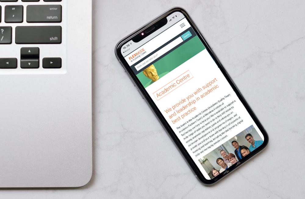 Responsive, Tauranga digital design agency. Client project  - MIT - Fleximode, Custom Designed Wordpress Website, MIT Fleximode, academic centre page on mobile
