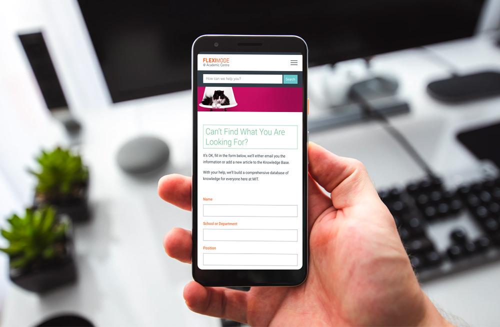 Responsive, Tauranga digital design agency. Client project  - MIT - Fleximode, Custom Designed Wordpress Website, MIT Fleximode, help page on mobile