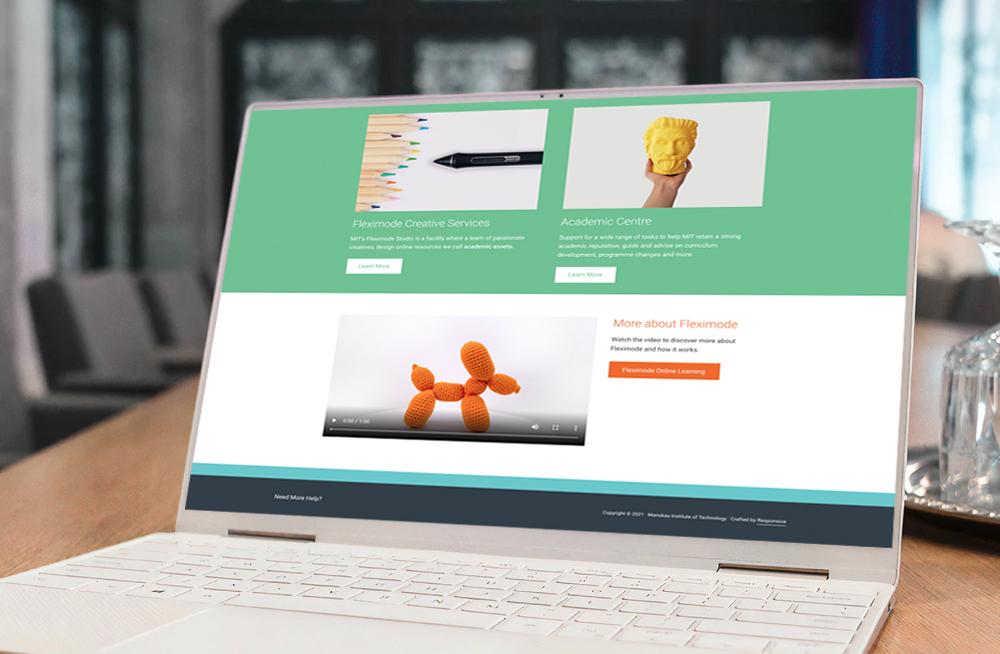 Responsive, Tauranga digital design agency. Client project  - MIT - Fleximode, Custom Designed Wordpress Website, MIT Fleximode, homepage on laptop