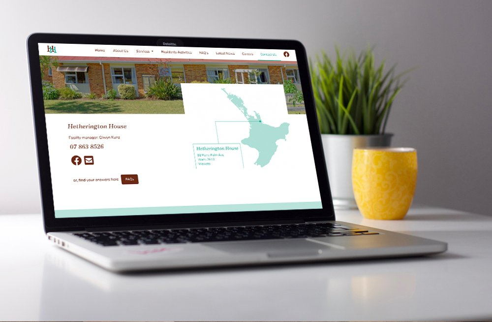 Responsive, Tauranga digital design agency. Client project  - Hetherington House, Website design & development, web hosting, graphic design, website contact page on laptop