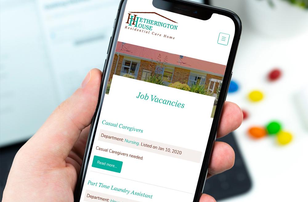 Responsive, Tauranga digital design agency. Client project  - Hetherington House, Website design & development, web hosting, graphic design, website jobs page on mobile