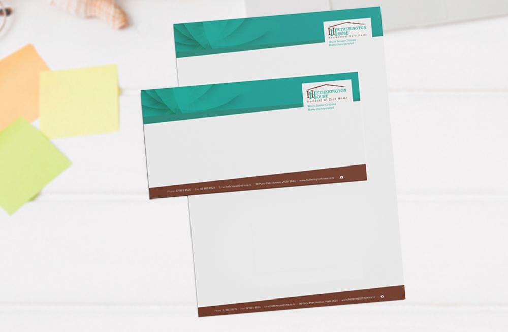Responsive, Tauranga digital design agency. Client project  - Hetherington House, Website design & development, web hosting, graphic design, graphic design stationery pack