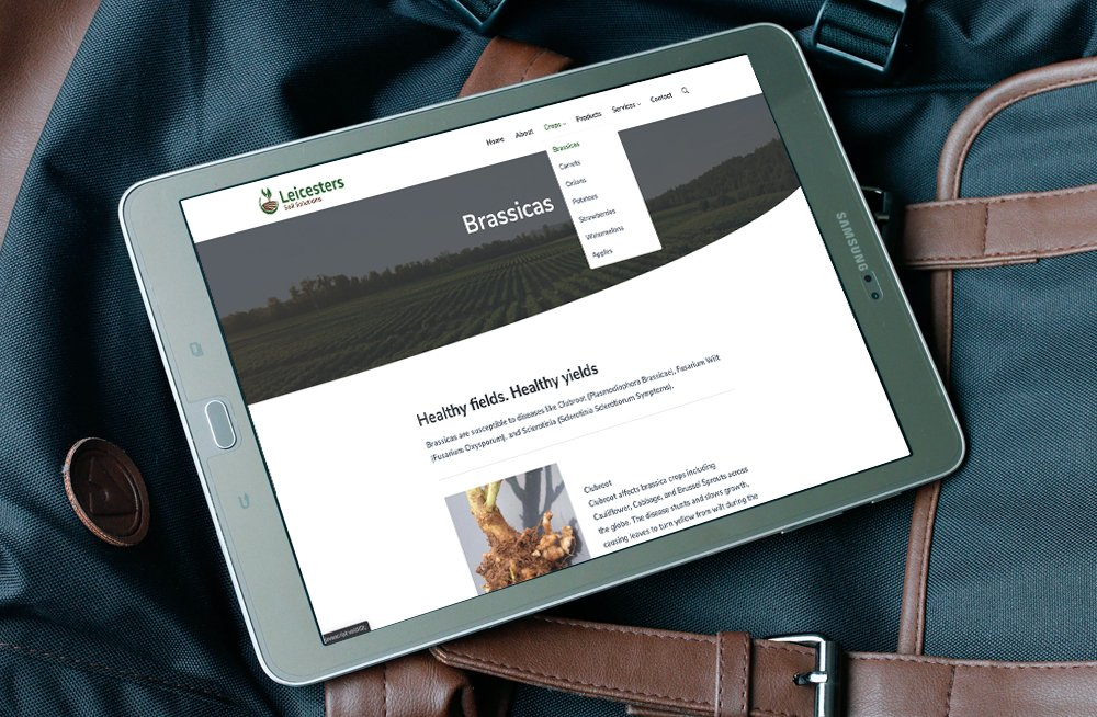 Responsive, Tauranga digital design agency. Client project  - Leicesters Soil Solutions, Wordpress theme development, Leicesters Soil Solutions Brassicas page on tablet