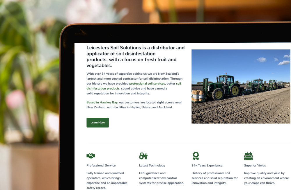 Responsive, Tauranga digital design agency. Client project  - Leicesters Soil Solutions, Wordpress theme development, Leicesters Soil Solutions Brassicas homepage on laptop