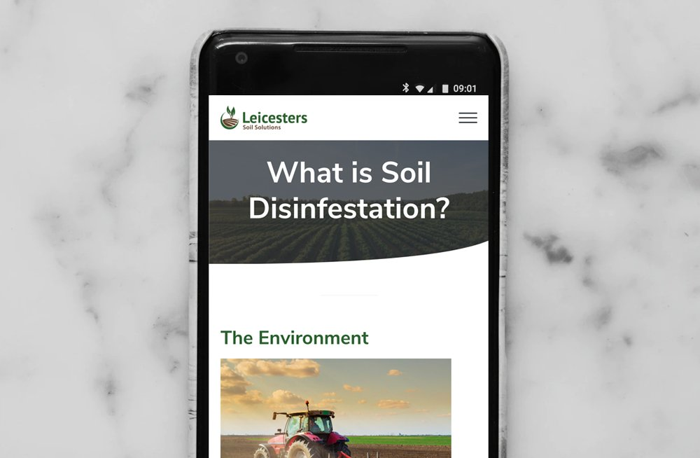 Responsive, Tauranga digital design agency. Client project  - Leicesters Soil Solutions, Wordpress theme development, Leicesters Soil Solutions Brassicas what is soil disinfestation page on mobile