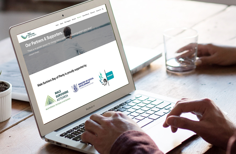 Responsive, Tauranga digital design agency. Client project  - Male Survivors Bay Of Plenty, Website development, Web hosting, website our supporters page on laptop