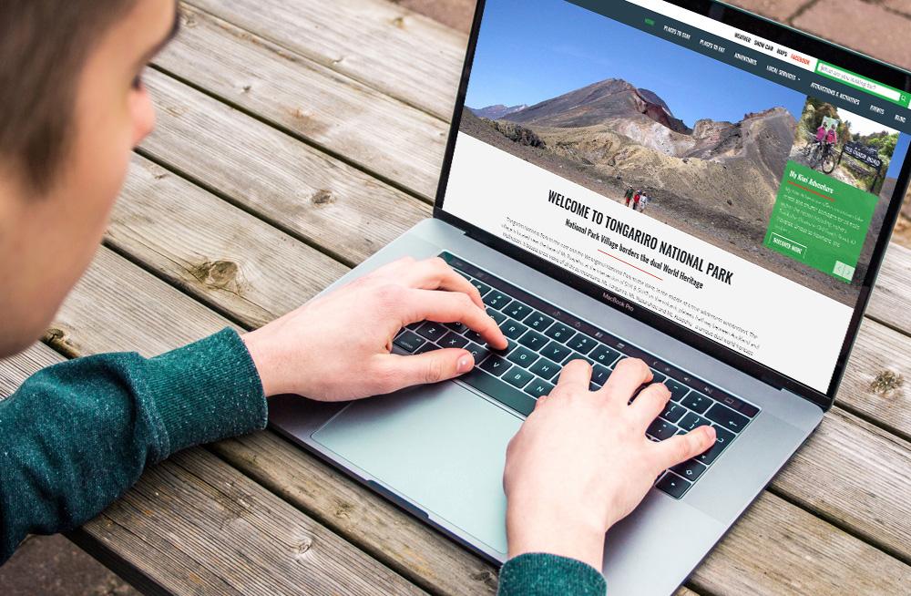 Responsive, Tauranga digital design agency. Client project  - National Park Villages, Website design & development, Web hosting, website homepage on laptop