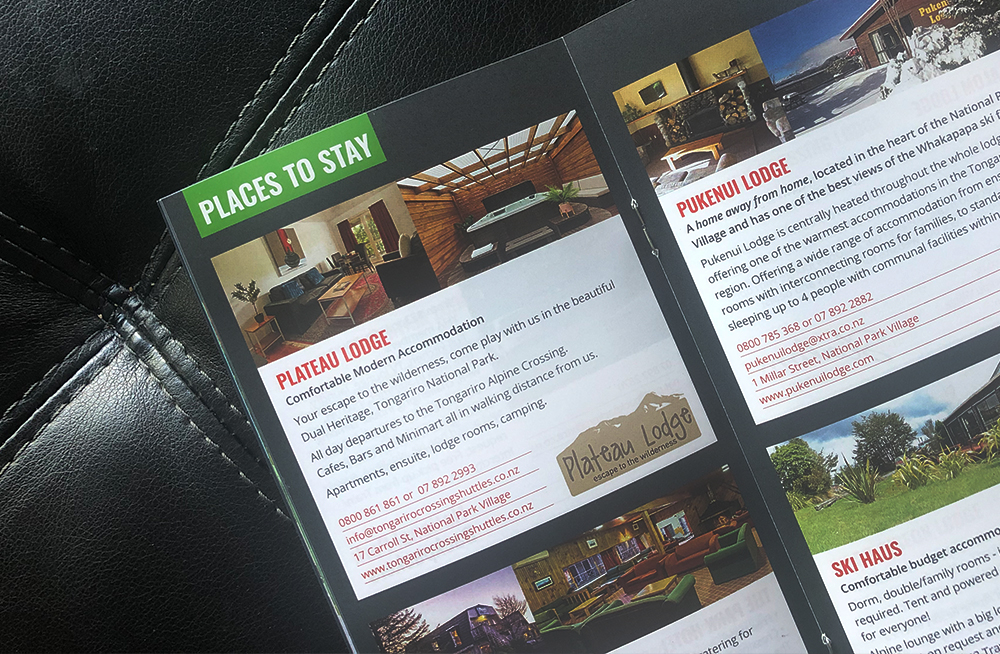 Responsive, Tauranga digital design agency. Client project  - National Park Village Brochure, Graphic design & print, graphic design, brochure page, places to stay