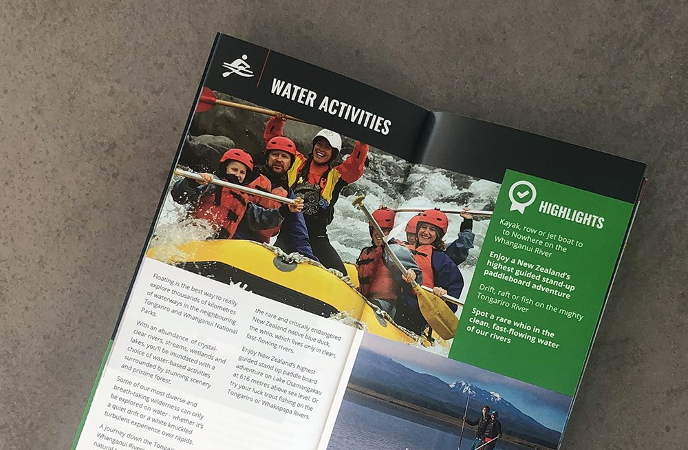 Responsive, Tauranga digital design agency. Client project  - National Park Village Brochure, Graphic design & print, graphic design, brochure page, water activities