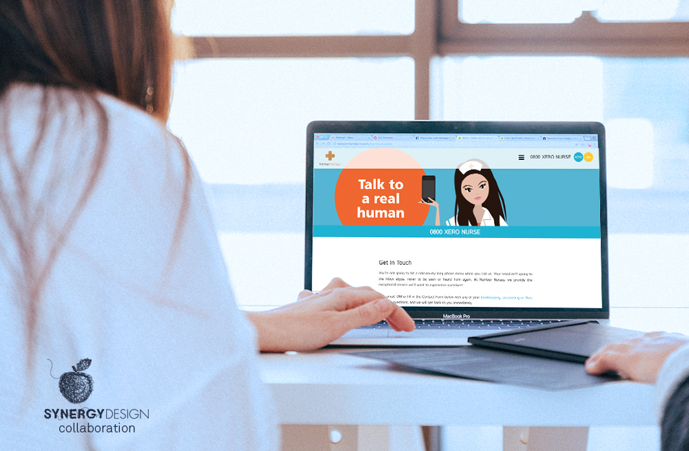 Responsive, Tauranga digital design agency. Client project  - Number Nurses, Website development, Web hosting, website get in touch page on laptop