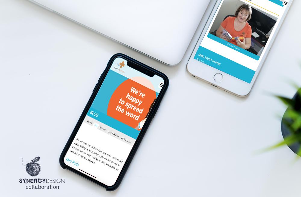 Responsive, Tauranga digital design agency. Client project  - Number Nurses, Website development, Web hosting, website blog page on mobile