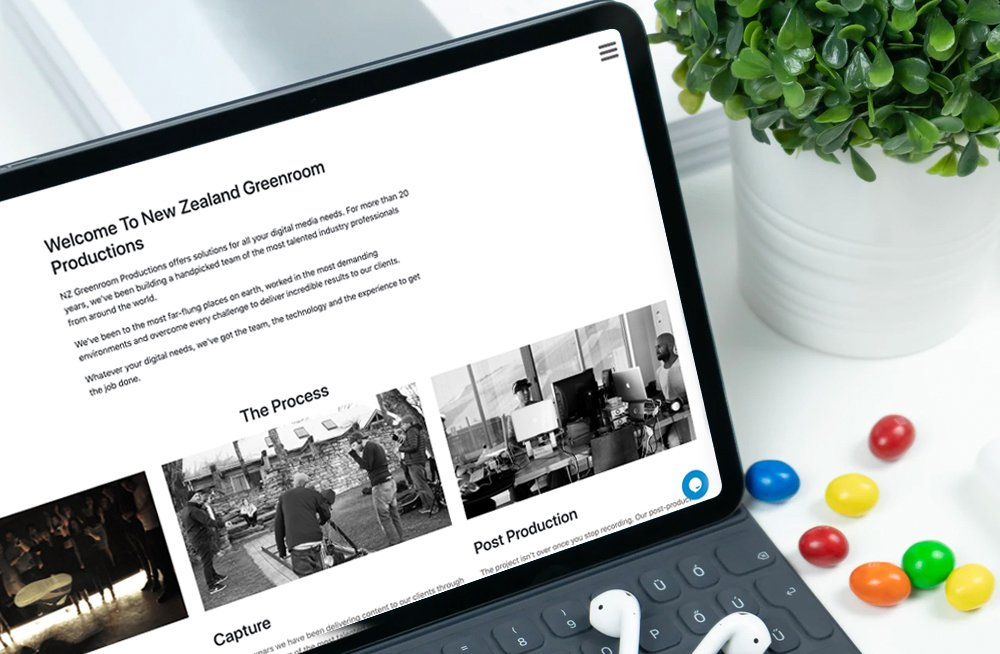 Responsive, Tauranga digital design agency. Client project  - NZ Greenroom, Website development, web hosting, NZ Greenroom - home welcome message