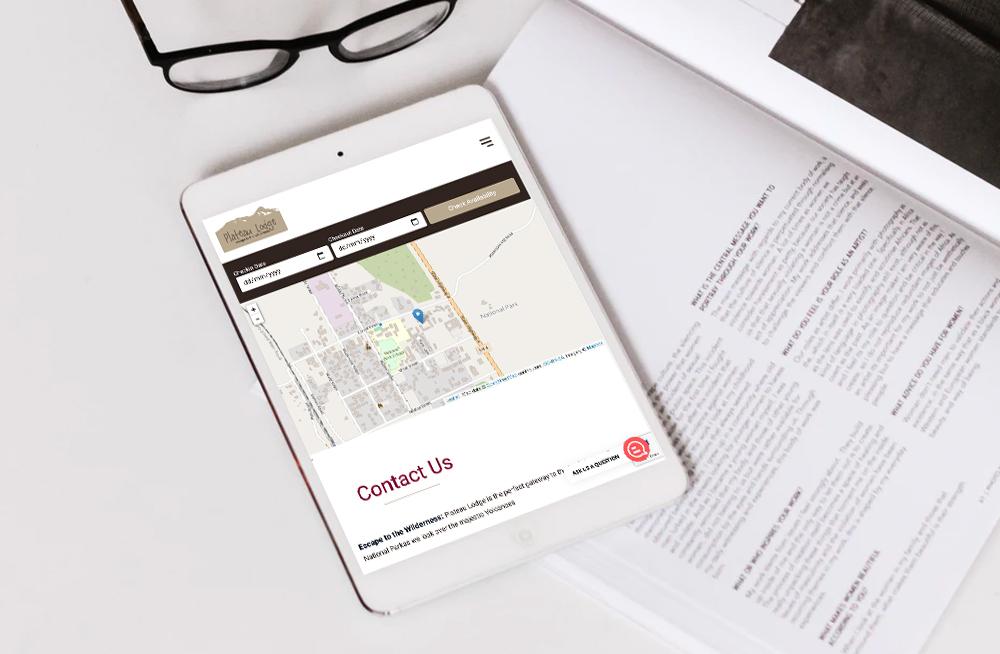 Responsive, Tauranga digital design agency. Client project  - Plateau Lodge, Website design & development, web hosting, Plateau Lodge contact page on a tablet