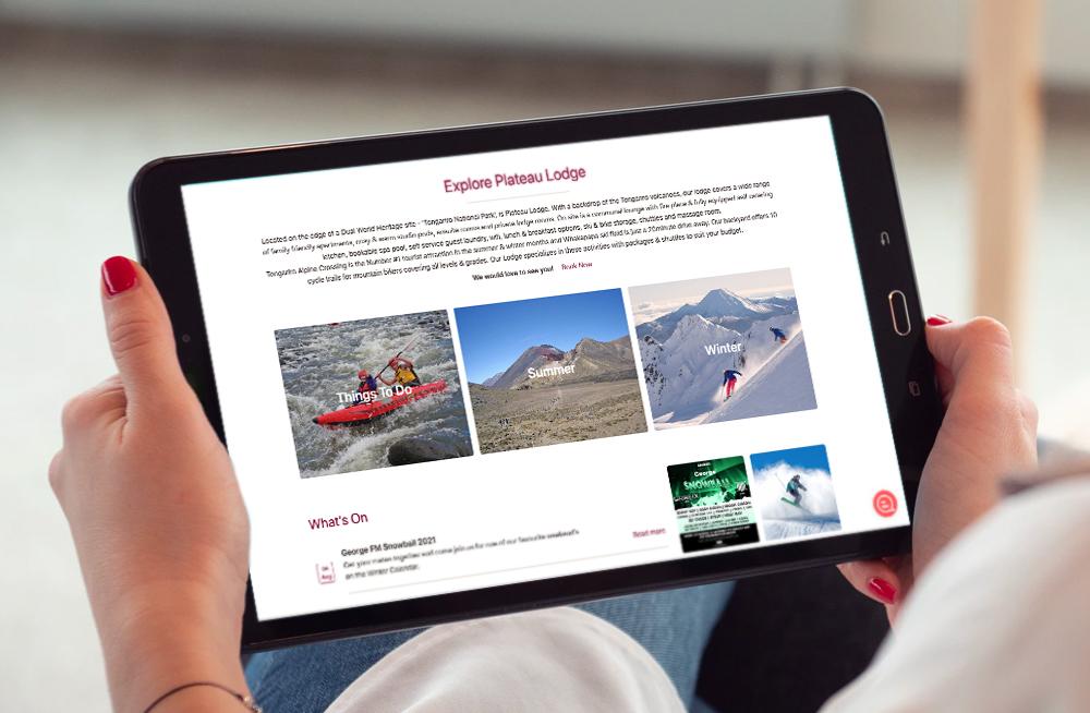 Responsive, Tauranga digital design agency. Client project  - Plateau Lodge, Website design & development, web hosting, Plateau Lodge homepage explore Plateau Lodge on tablet