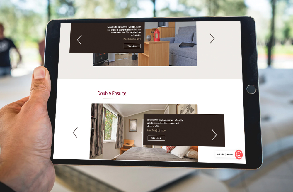 Responsive, Tauranga digital design agency. Client project  - Plateau Lodge, Website design & development, web hosting, Plateau Lodge rooms page on tablet
