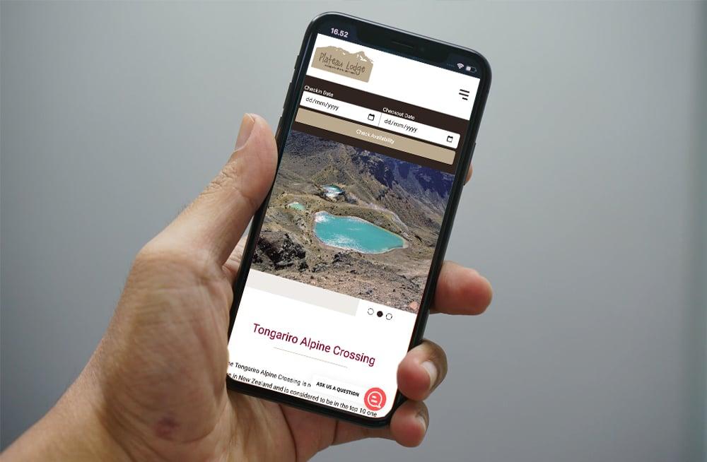 Responsive, Tauranga digital design agency. Client project  - Plateau Lodge, Website design & development, web hosting, Plateau Lodge Tongariro Crossing page on mobile