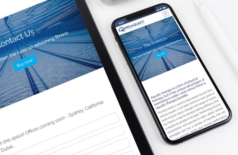 Responsive, Tauranga digital design agency. Client project  - Pro Aquafit, Custom October CMS theme, website development, web hosting, website homepage on a mobile