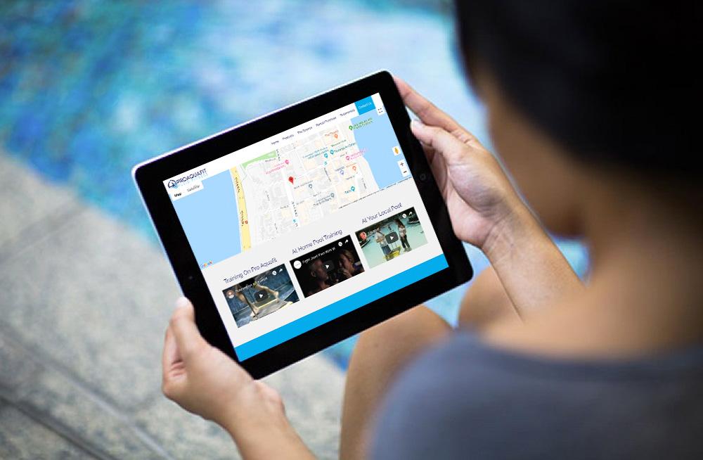 Responsive, Tauranga digital design agency. Client project  - Pro Aquafit, Custom October CMS theme, website development, web hosting, website contact us page on a tablet
