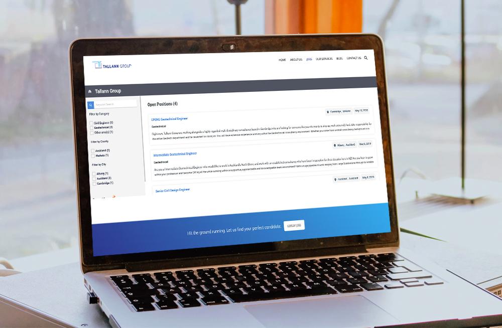 Responsive, Tauranga digital design agency. Client project  - Tallann Group, Wordpress website development, graphic design, Tallann Group job vacancies on a laptop