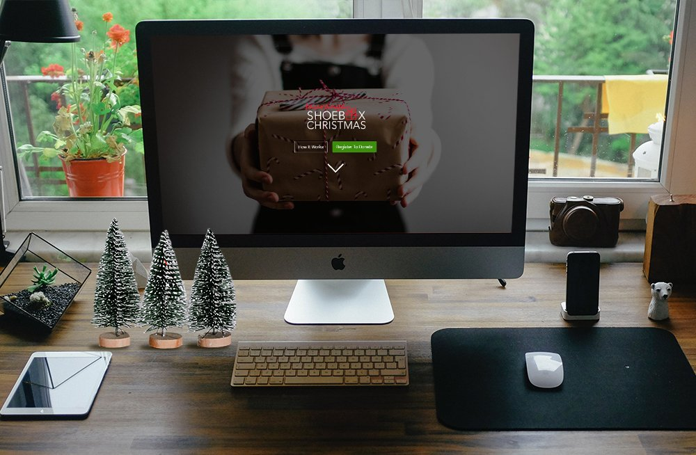 Responsive, Tauranga digital design agency. Client project  - Tauranga Shoebox Christmas, Custom web app development, web hosting, website homepage on desktop
