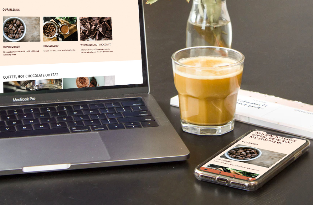 Responsive, Tauranga digital design agency. Client project  - Teshas  Coffee, Website development, eCommerce, web hosting, Teshas Coffee home page on a laptop and mobile