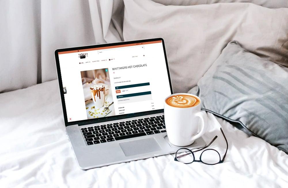 Responsive, Tauranga digital design agency. Client project  - Teshas  Coffee, Website development, eCommerce, web hosting, Teshas Coffee hot chocolate on a laptop