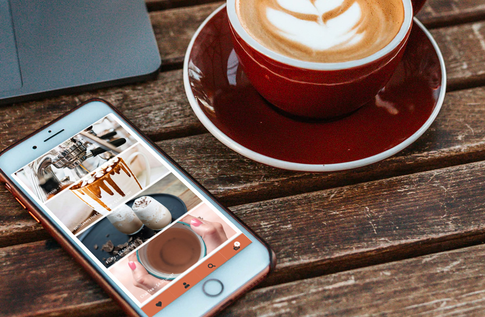 Responsive, Tauranga digital design agency. Client project  - Teshas  Coffee, Website development, eCommerce, web hosting, Teshas Coffee products on a mobile phone