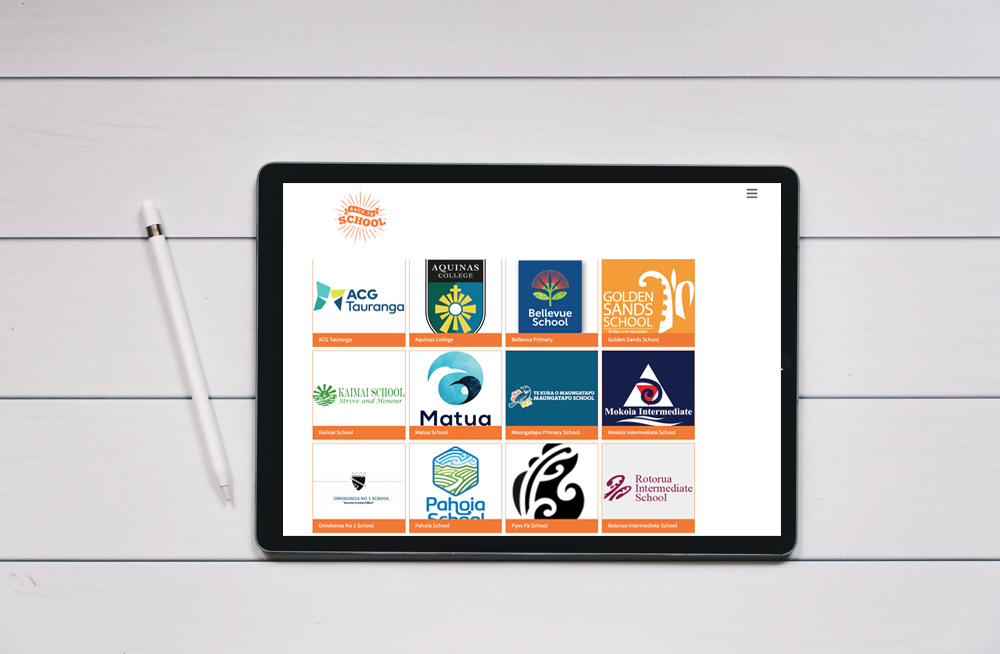 Responsive, Tauranga digital design agency. Client project  - The Back To School Store, Website development, eCommerce, web hosting, list of schools on a tablet