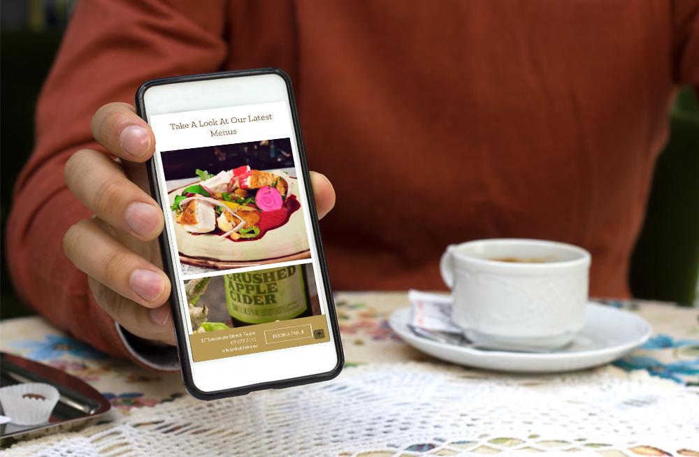 Responsive, Tauranga digital design agency. Client project  - The Bistro, Website design & development, Web hosting, website image slider on mobile