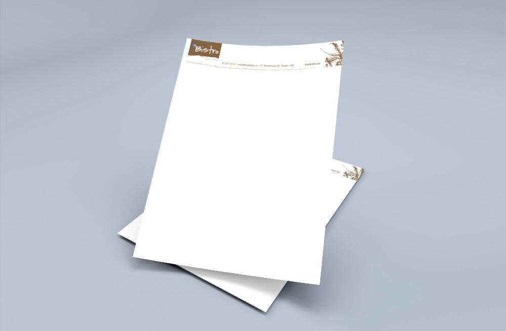 Responsive, Tauranga digital design agency. Client project  - The Bistro, Graphic design, graphic design, letterhead
