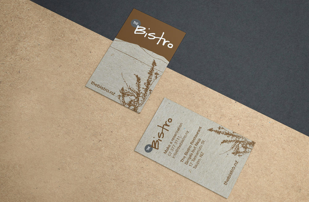 Responsive, Tauranga digital design agency. Client project  - The Bistro, Graphic design, graphic design, business cards